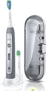 Philips Sonicare FlexCare Platinum Sonic Electric Toothbrush with 2 Brush heads and Pressure Sensor, Slate Grey, HX9112/52