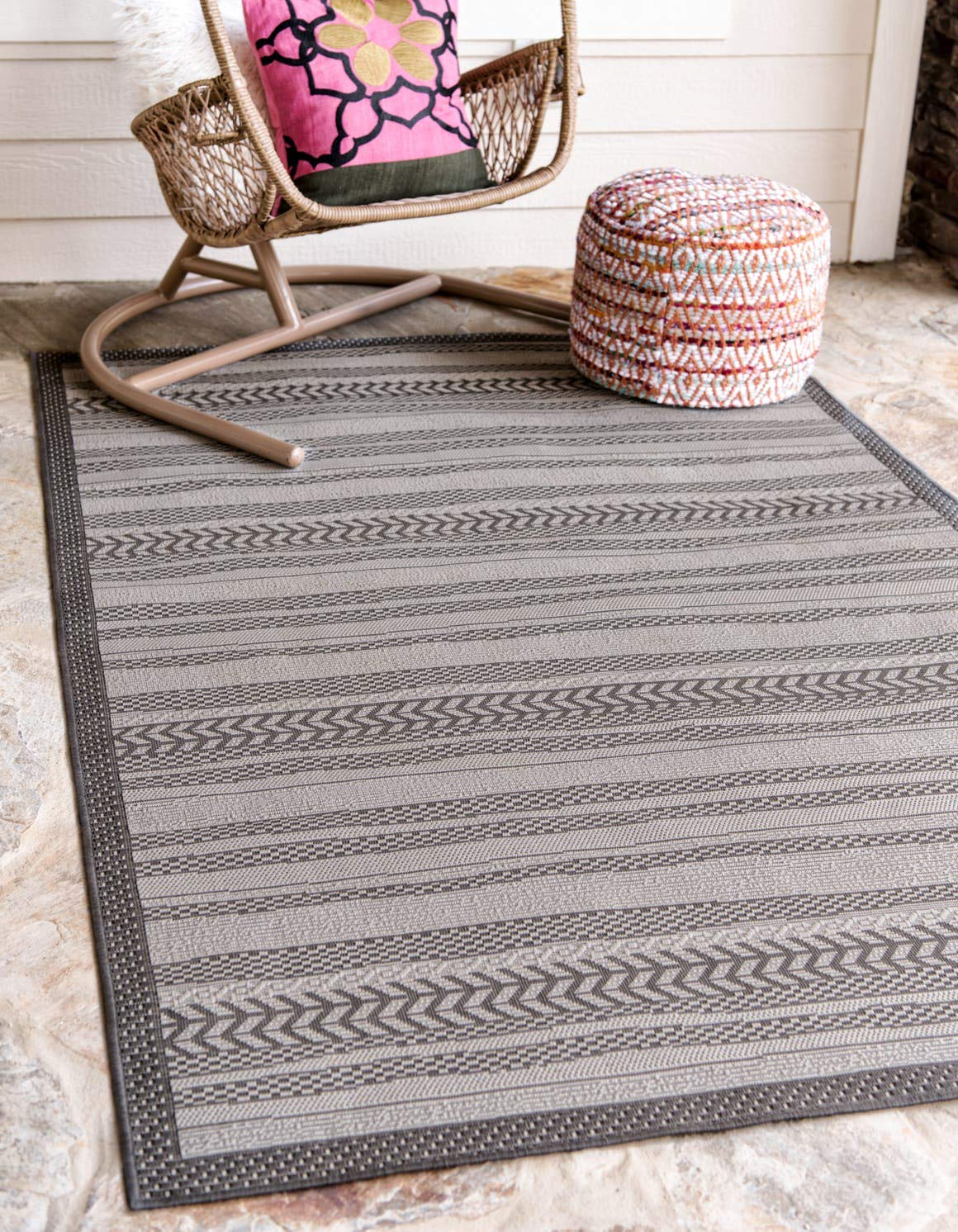 Unique Loom Outdoor Border Collection Striped Moroccan Transitional Indoor and Outdoor Flatweave Gray Area Rug 4 0 x 6 0