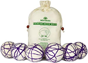 Organic Wool Dryer Balls - 6 XL Premium Quality Reusable Natural Fabric Softener, 100% Hand Made, New Zealand Merino Wool, Natural Purple, Fair-Trade