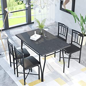 charaHOME 5 Piece Dining Table Set for Dining Room, Kitchen Table and Faux Leather Chairs for 4, Metal Legs, Padded Seat, Black Home Furniture