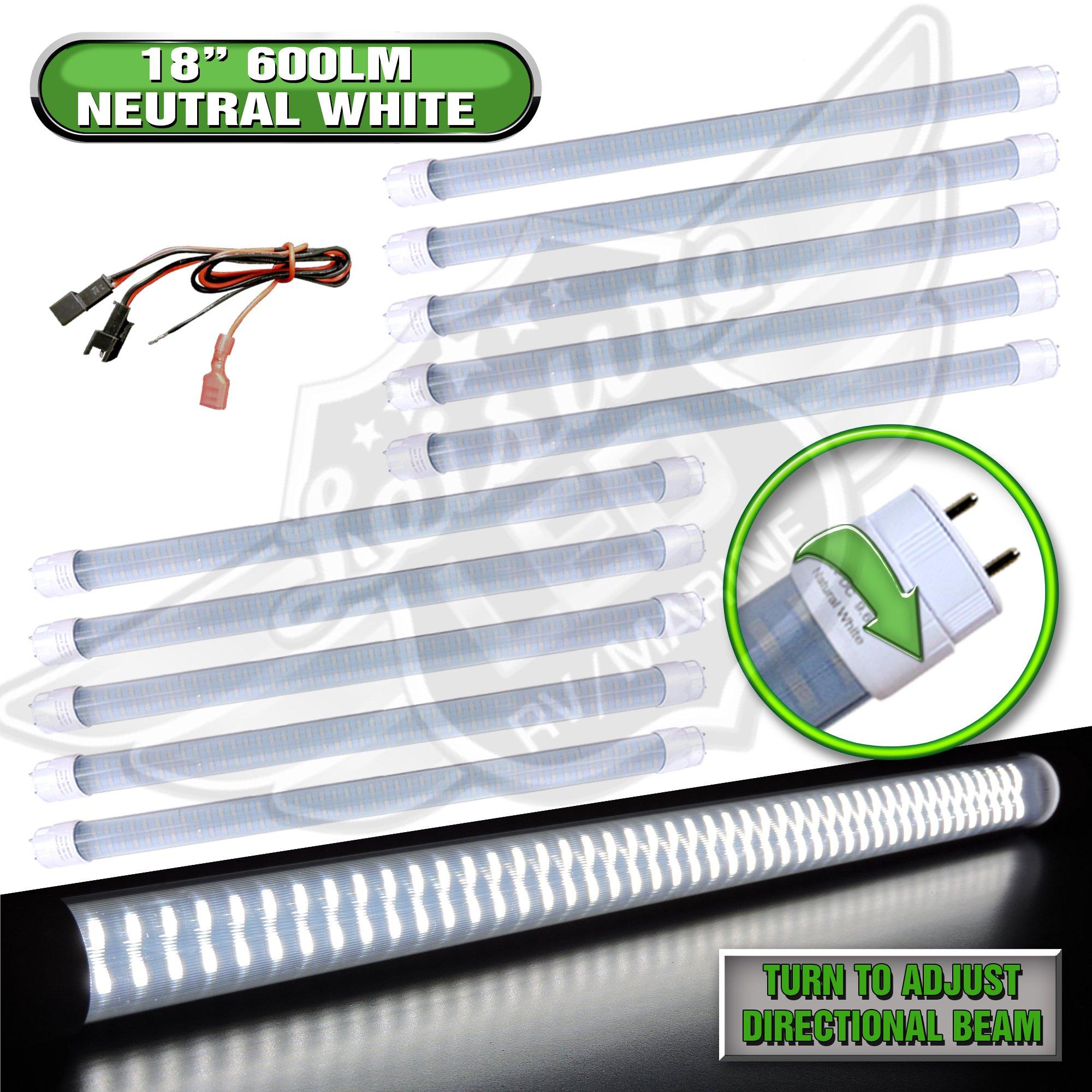 RV Light Bulb LED T8, 18'' Florescent Tube Replacement, 600 Lumen (Natural White) (10)