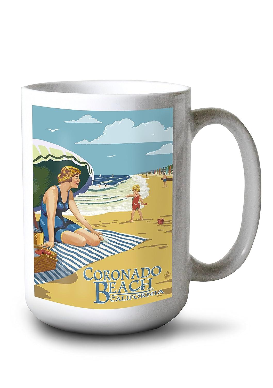 Coronado、カリフォルニア – Woman on beach 15oz Mug LANT-3P-15OZ-WHT-45629 B077S1DLQQ  15oz Mug