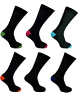 12 Pairs Mens Designer Colour Heel and Toe Casual Formal Cotton Socks - UK Size 6-11