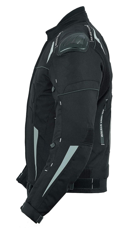 impermeabile ad alta protezione colore nero LeatherTeknik Giacca da moto armata con 7 armature CJ-9484 in cordura