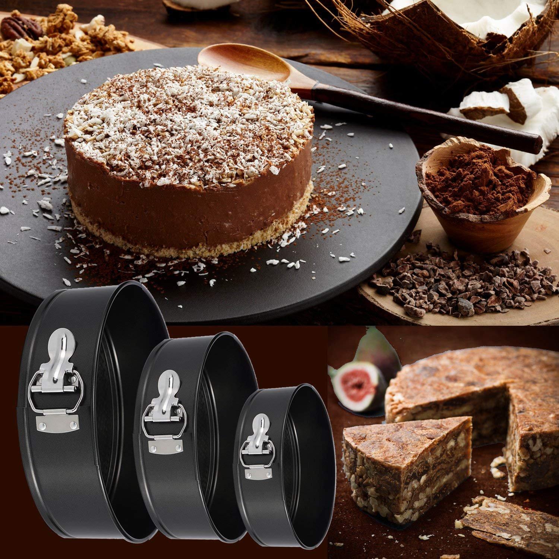 3Pcs/Set Kitchen Springform Multilayer Wedding Birthday Baking Cake Tins, 4inch/7inch/9inch Nonstick Leak-proof Round Cheesecake Pan Kit (1Set (4/7/9inch)) by Nessere (Image #5)