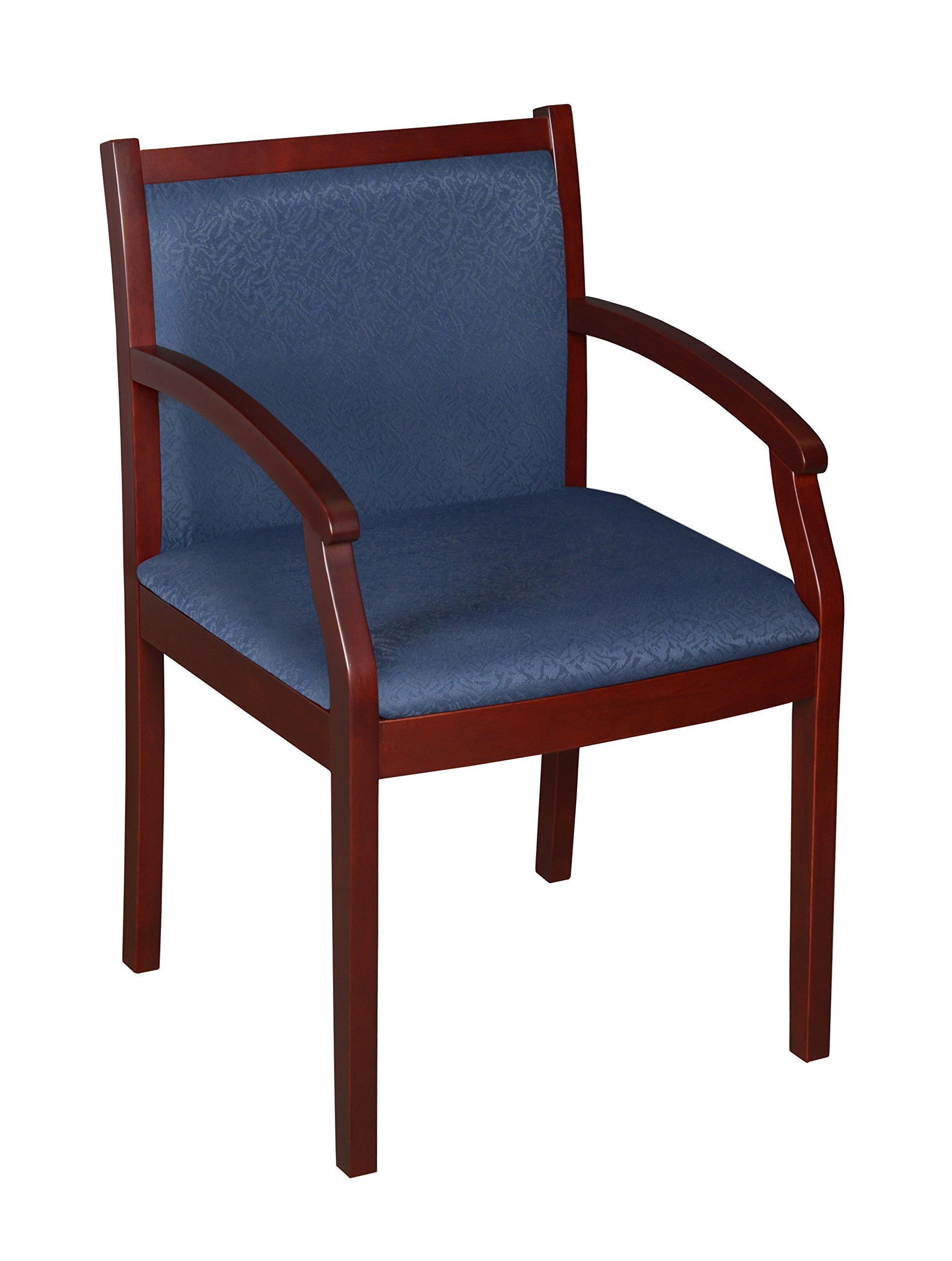 Regency Seating Regent Guest Chair with a Mahogany Wood Frame and Blue Fabric