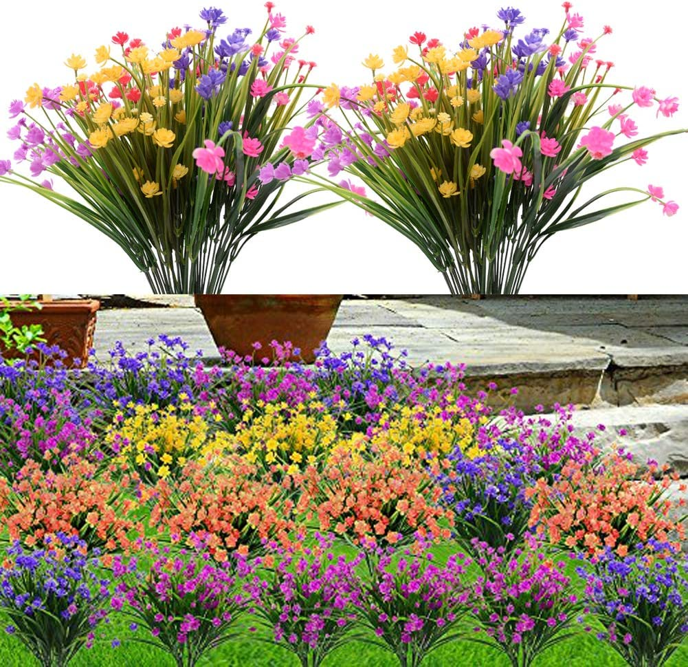 Plobach 6PCS Artificial Flowers Outdoor UV Resistant Plants, 6 Branches Faux Plastic Greenery Shrubs Plants Indoor Outside Hanging Planter Kitchen Home Wedding Office Garden Decor (Mix Color)