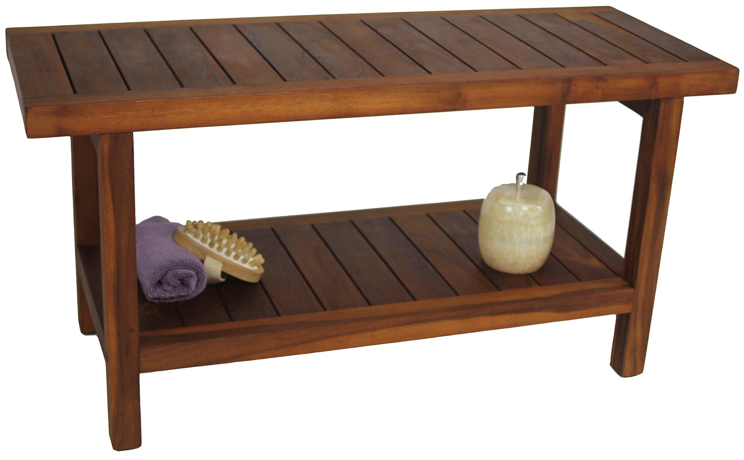 The Original 36'' Spa Teak Shower Bench With Shelf