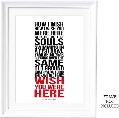 A3 rosa Floyd Wish You Were Here lírica de obras de arte de la ...