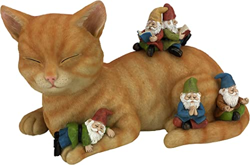 GlitZGlam Cody The Miniature Cat and Gnomes – A Relaxing Day – A Fairy Garden Gnome Miniature