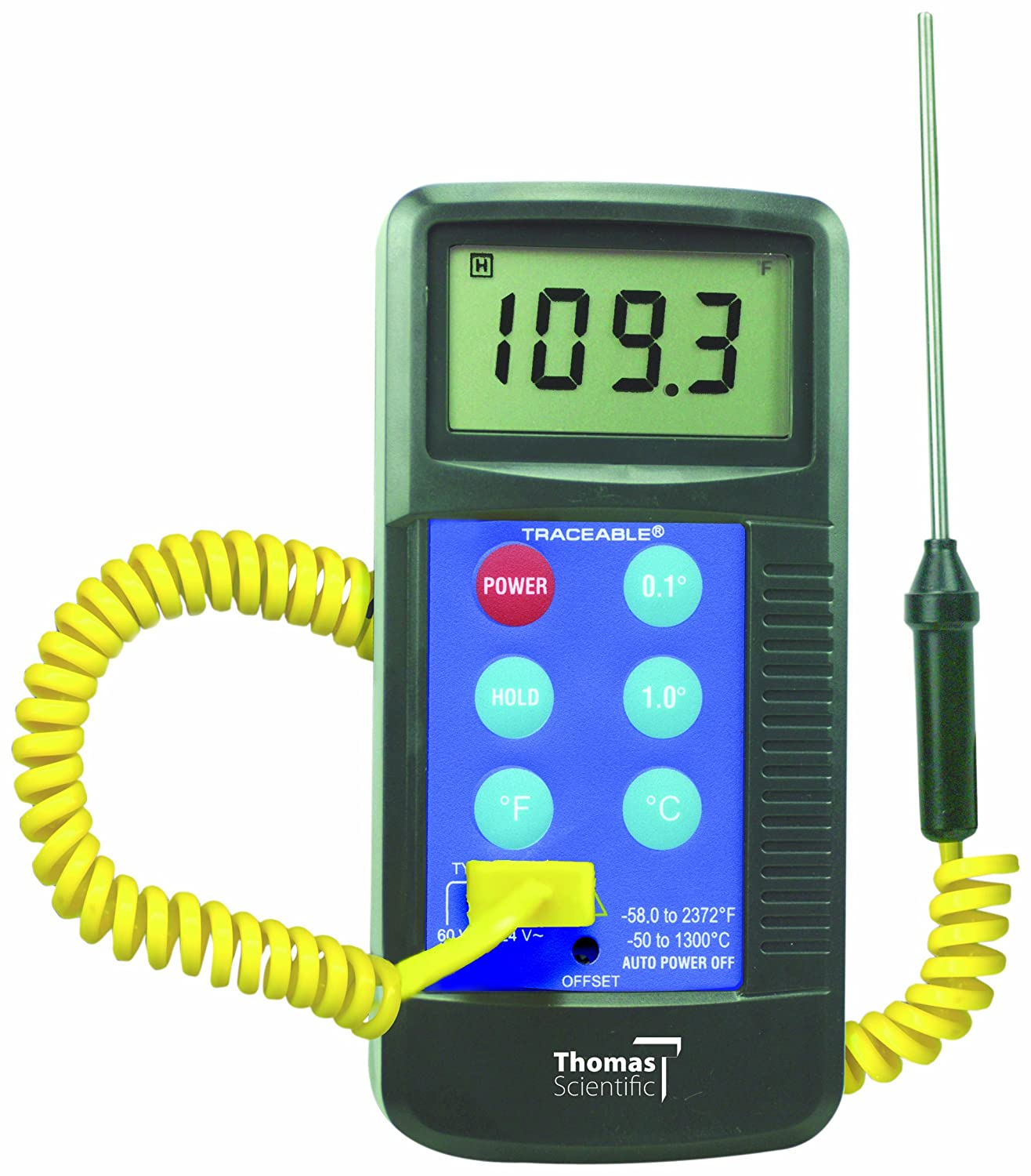 Thomas Traceable Workhorse Thermometer, Type K Thermocouple, -58 to 2372 Degree F, -50 to 1300 Degree C, Probe Range (Supplied with Unit) -45 to 230 Degree C, Accepts All Type K Probes Thomas Scientific 4425