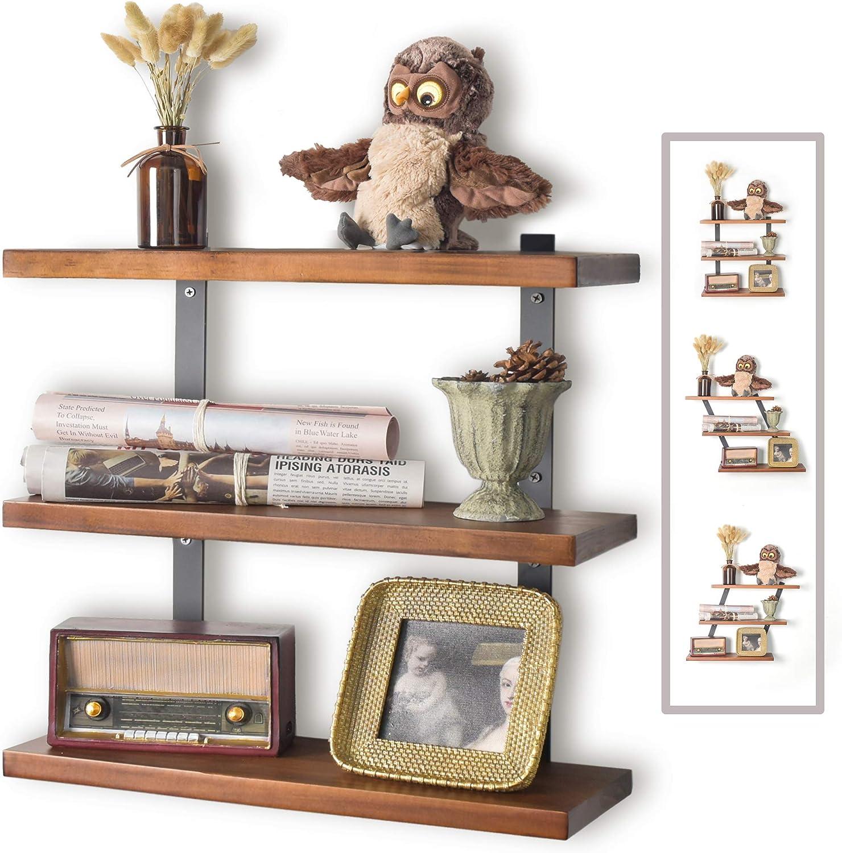 JS HOME Floating Shelves Mount Wall, Adjustable Angle Wall Shelves, 16.9 Inches Hanging Wall Shelves for Bedroom, Bathroom, Living Room, Kitchen, Decorative Wooden Wall Shelves, Walnut
