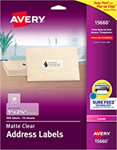 "Avery Matte Frosted Clear Address Labels for Laser Printers, 1"" x 2-5/8"", 300 Labels (15660)"