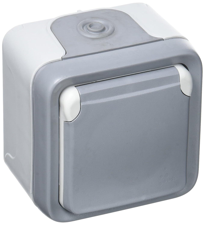 Legrand LEG69731 Prise 2p+t avec é clips de protection programme plexo complet saillie 16 A Gris Appareillage va et vient fiche etanche plaque support