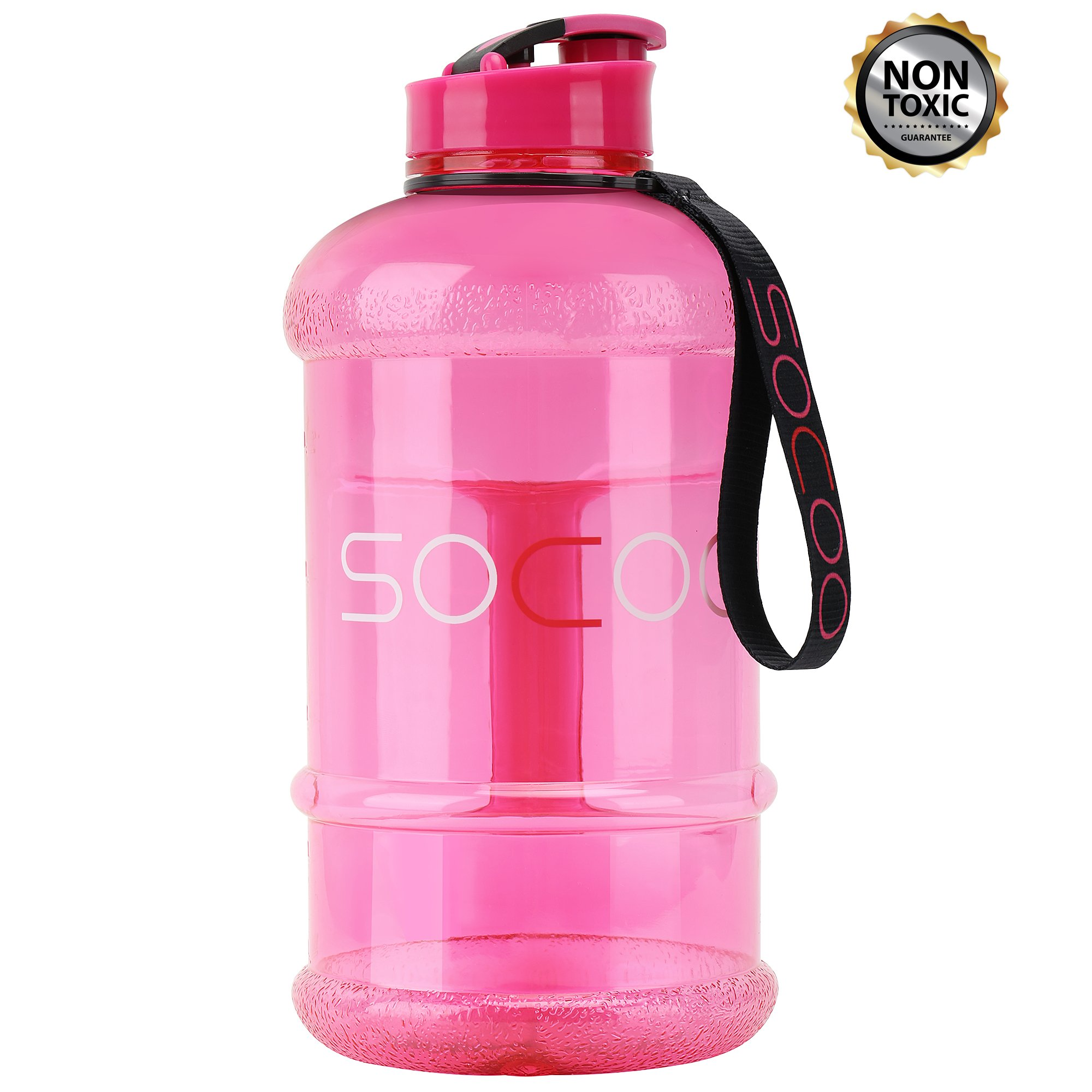 1 Liter Water Bottle for Kids Girl with Strap Durable Non Toxic Lightweight Plastic Leak Proof for School Athletic Outdoor BPA Free Sports Water Bottle (1.0L-Transparent Pink)