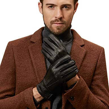 b3a889b6a96ce Cyber Monday deals!Fioretto Basic Men's Top Grade Deerskin Warm Leather  Gloves with 3 Lines of Stitching Decoration and Logo Stamp Size 10.5 Black:  ...
