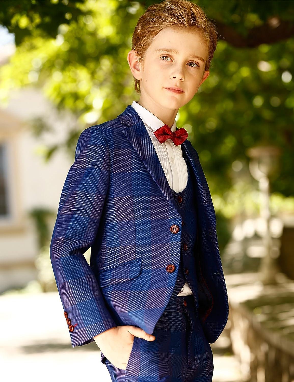 ELPA ELPA Boys Suits Childrens Slim Fit Classic Plaid Suits Set