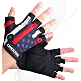 DMoose Weight Lifting Gloves for Deadlifts, Weightlifting, Powerlifting, Crossfit, and Strongman Workouts, Heavy Duty Wrist Support, Gym, and Olympic Bar Training, Pair