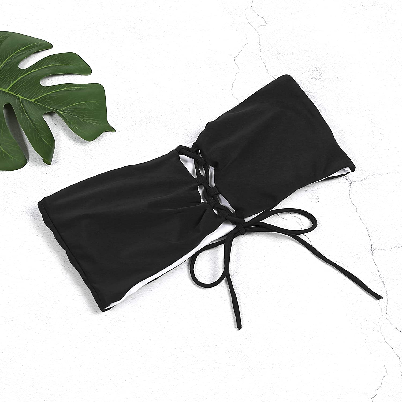 Bikini Verano Mujer Traje de Ba/ño de 2 Piezas sin Tirantes Ba/ñador Playa Bandeau Color S/ólido