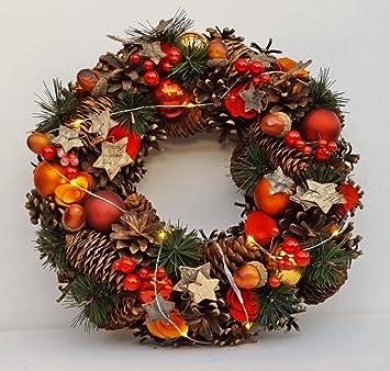 Adventskranz Deko amazon de adventskranz türkranz weihnachtskranz kranz beleuchtet
