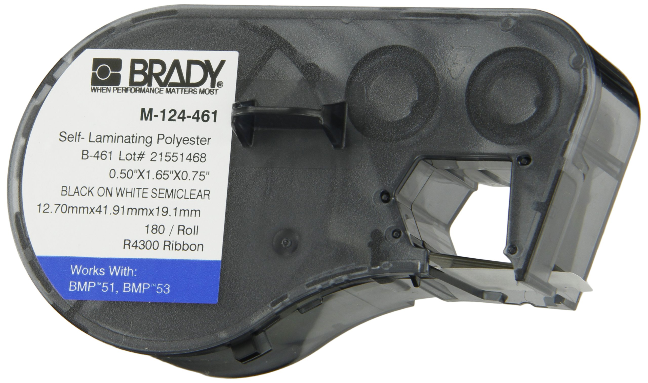 Brady M-124-461 Polyester B-461 Black on White/Clear Label Maker Cartridge, 1-41/64'' Width x 1/2'' Height, For BMP51/BMP53 Printers