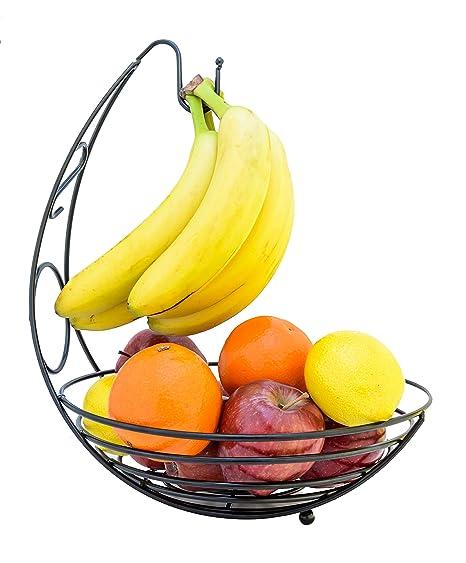 Amazon.com   Premium Heavy-Duty Metal Fruit Bowl Basket with Banana ...