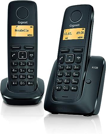 Gigaset A120 Duo Teléfono Inalámbrico, Agenda de 50 Contactos, Pantalla Iluminada, Negro, Pack de 2 Unidades: SIEMENS: Amazon.es: Electrónica