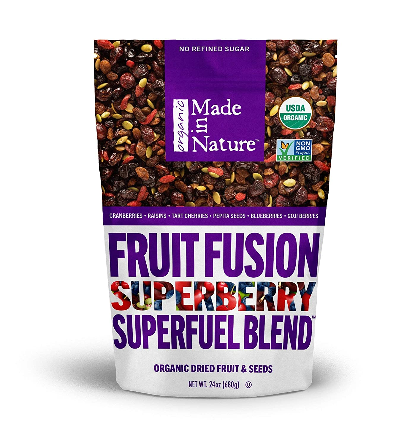 Made in Nature Superberry Fruit Fusion, Organic Dried Fruit and Seeds Trail Mix, Vegan Snack, 24 Ounce Bag