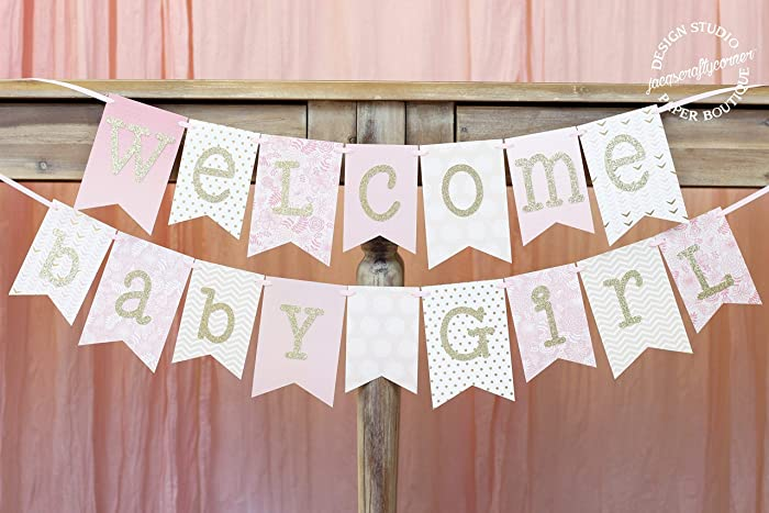 amazon com pink and gold baby shower banner welcome baby girl 1 0