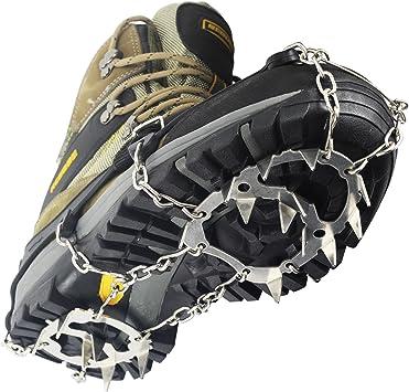 YUEDGE Crampones Garras Acero Inoxidable Cadena Crampones Antideslizante Zapatos Cover para Camping y Alpinismo en Esquí Hielo Nieve Senderismo al ...