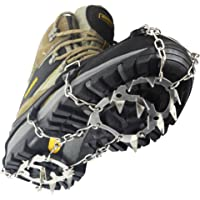 YUEDGE Universal 18 Teeth Stainless Steel Anti Slip Ice Cleats Shoe Boot Grips Crampon Snow Spikes Grips Traction Cleats