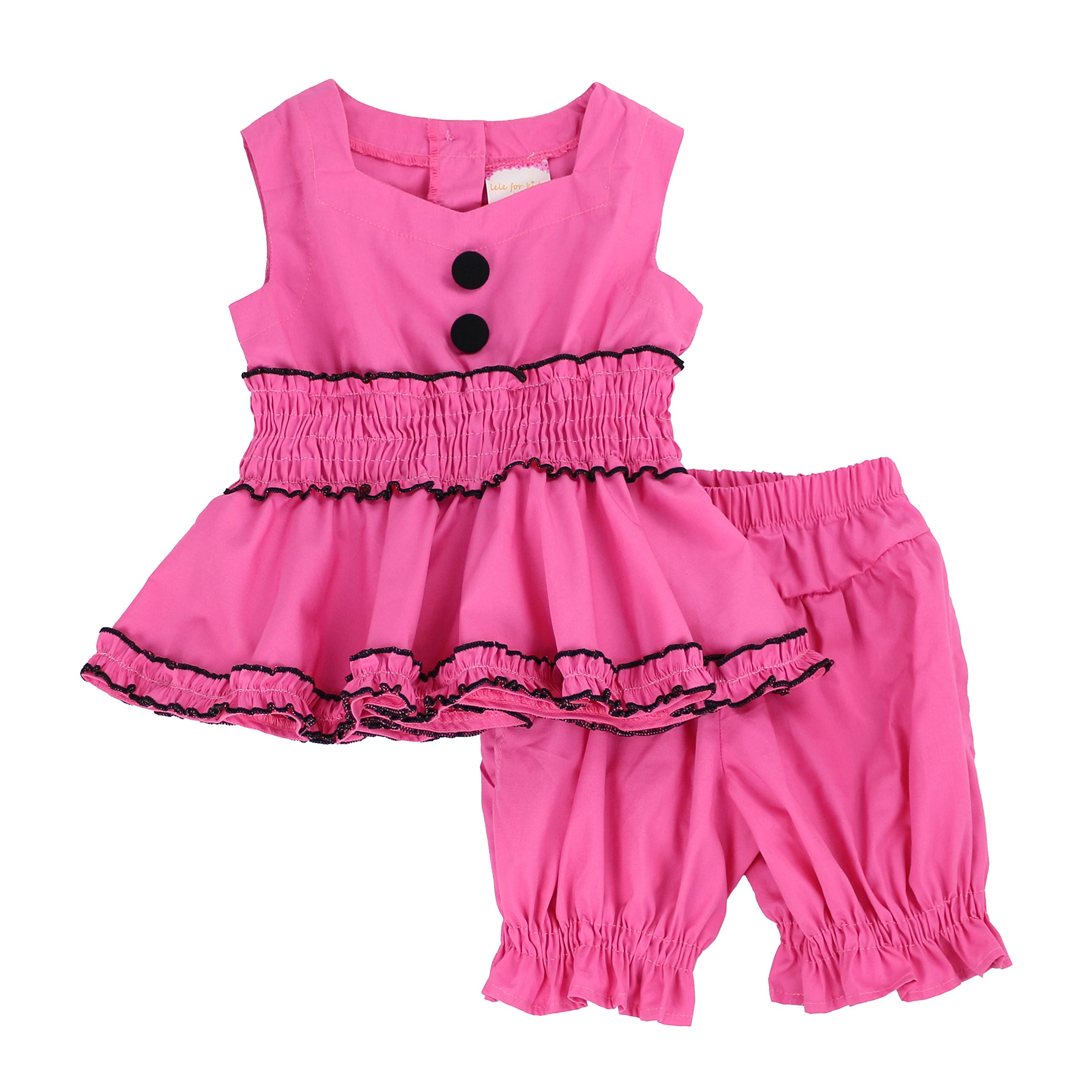 LELEFORKIDS - Toddlers and Girls Ozzy Babe Ruffled Bloomer Short Set in Hot Pink 5