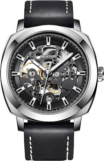 BENYAR - Reloj de Pulsera automático para Hombre | Pulsera de Cuero | Movimiento Dorado | Dial Esqueleto de 45 mm | Resistente al Agua y los arañazos | Disponible en Banda Multicolor: Amazon.es: Relojes