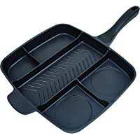 """Master Pan Non-Stick Divided Grill/Fry/Oven Meal Skillet, 15"""", Black"""