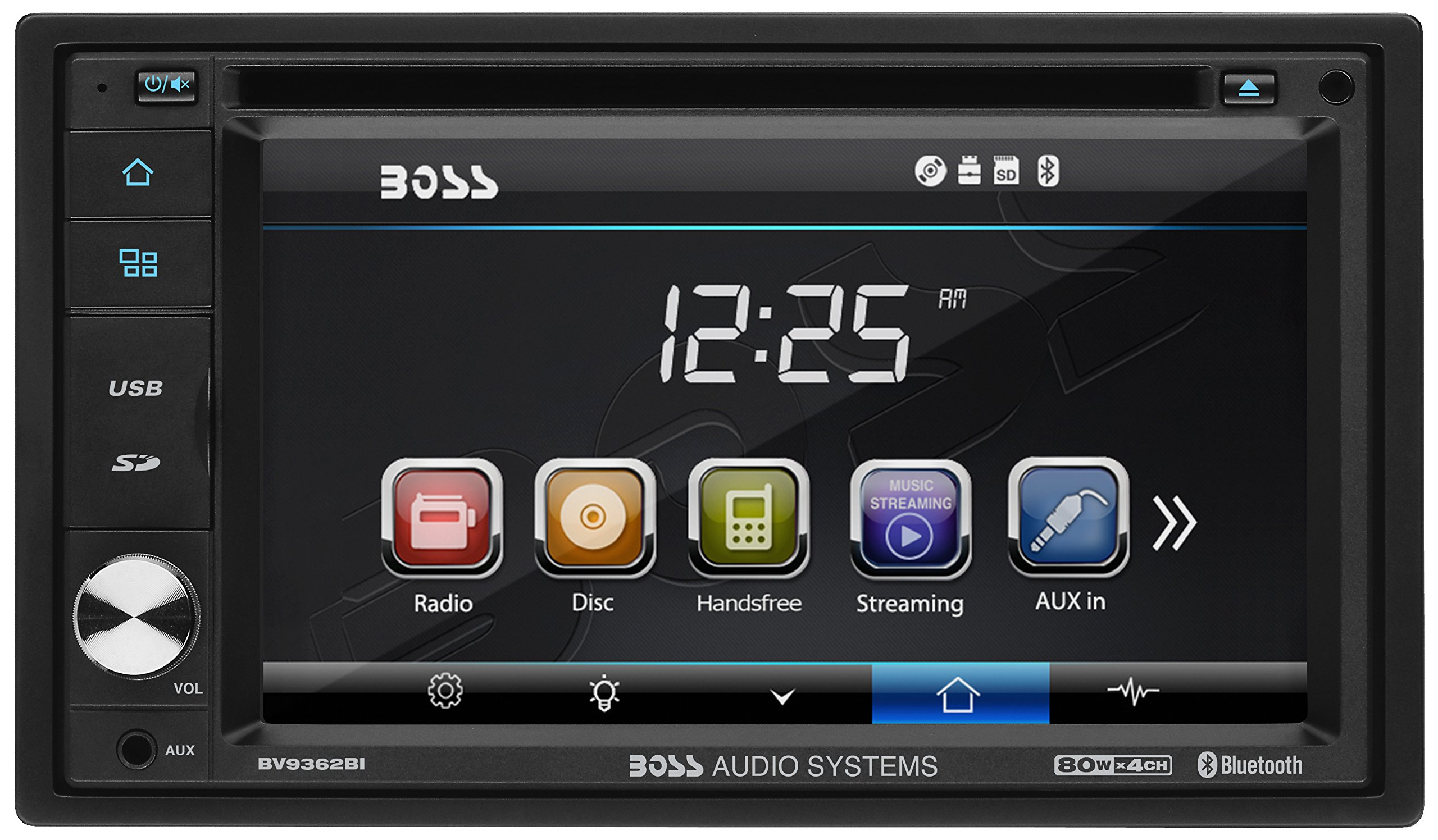 BOSS Audio Systems BV9362BI Car DVD Player - Double Din, Bluetooth Audio and Calling, 6.2 Inch LCD Touchscreen Monitor, MP3 Player, CD, DVD, WMA, USB, SD, Auxiliary Input, AM FM Radio Receiver by BOSS Audio Systems