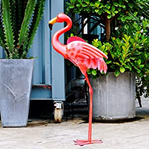 "Flamingo Garden Statue Pink Flamingo Standing Art Yard Décor Durable Metal Bird Sculpture for Outdoor Lawn Patio Walkway Backyard Ornaments 31"" H"