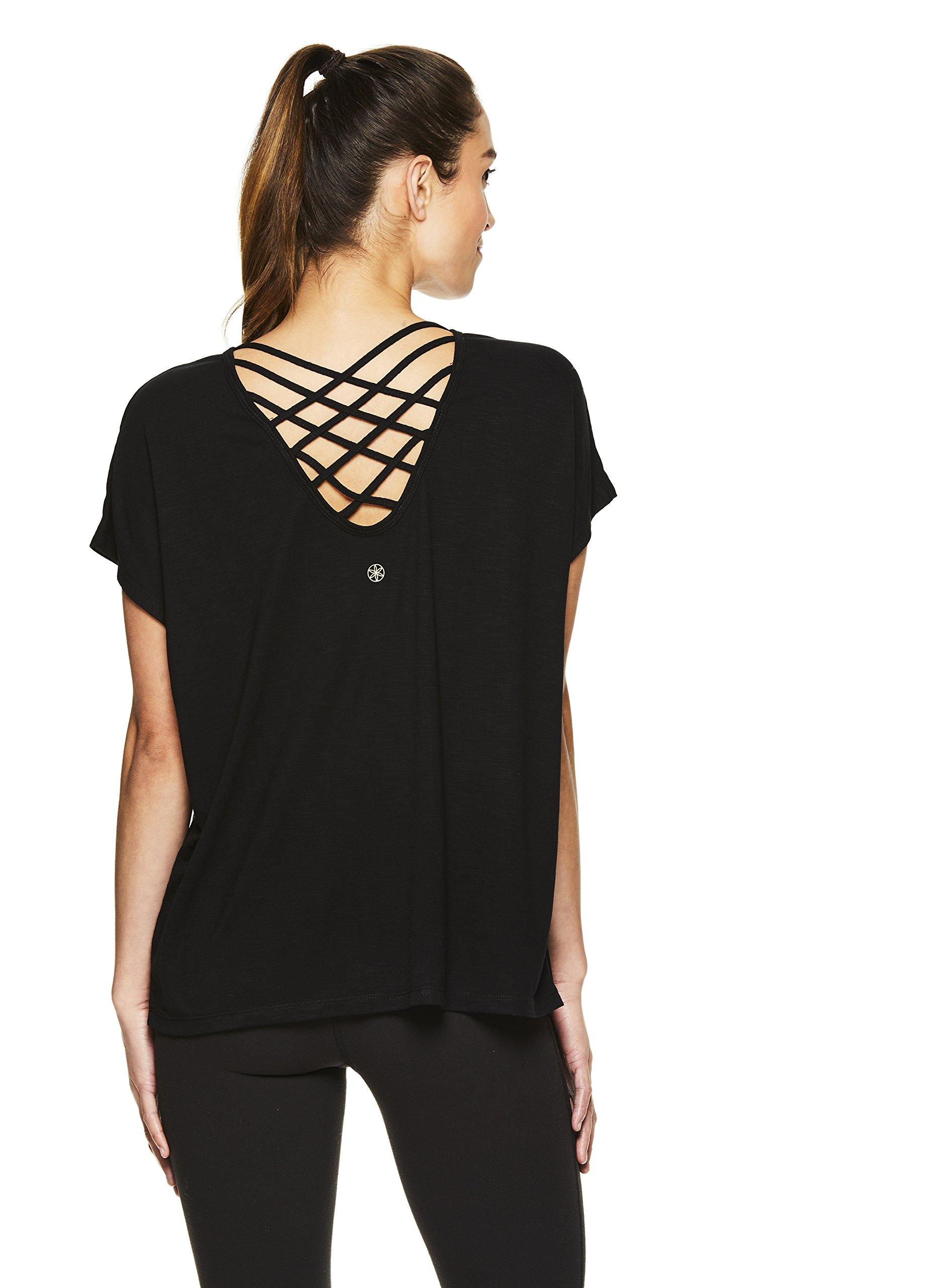 Gaiam Women's Short Sleeve Open Back Yoga T Shirt - Relaxed Fit Workout & Training Top - Black (Tap Shoe), 2X