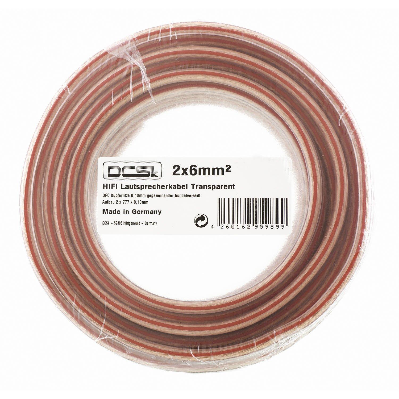 trasparente DCSk 15m 0,10 mm filo di rame ad elevata flessibilit/à 2x6mm/² cavo per altoparlante rame puro OFC per HiFi // Audio Class Reference