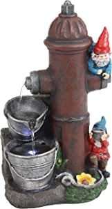 Sunnydaze Fire Hydrant Gnomes Outdoor Water Fountain with LED Light - Exterior Standing Water Feature - Corded Electric - Ideal for Deck, Yard, Balcony and Landscaping - 16-Inch