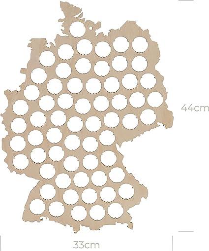 Geschenk f/ür M/änner Lustige Geschenkidee f/ür Bierfreunde /& Bier Geschenke Premium Bierkarte Deutschland XL Schwarz 60 x 46 cm Platz f/ür 75 Kronkorken