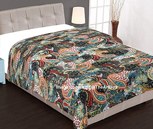 Kantha Quilt Twin Size Paisley Blanket Bed Cover Bedspread Bohemian Bedding