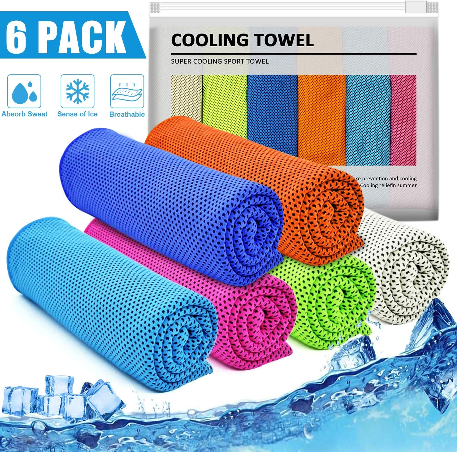 "IDEATECH Cooling Towels, 40""x12"" 46""x32"" Instant Cooling Chilly Towels -UPF 50+ Cooling Ice Towels for Sports, Workout, Fitness, Gym, Yoga, Pilates, Travel, Camping"