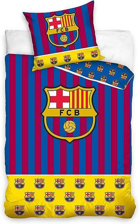 FCB Juego de funda de edredón y 2 fundas de almohada (reversible y 100% algodón)