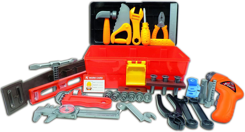 Workbench W Realistic Tools ELECTRIC DRILL Kids Pretend Play Toolbox NE