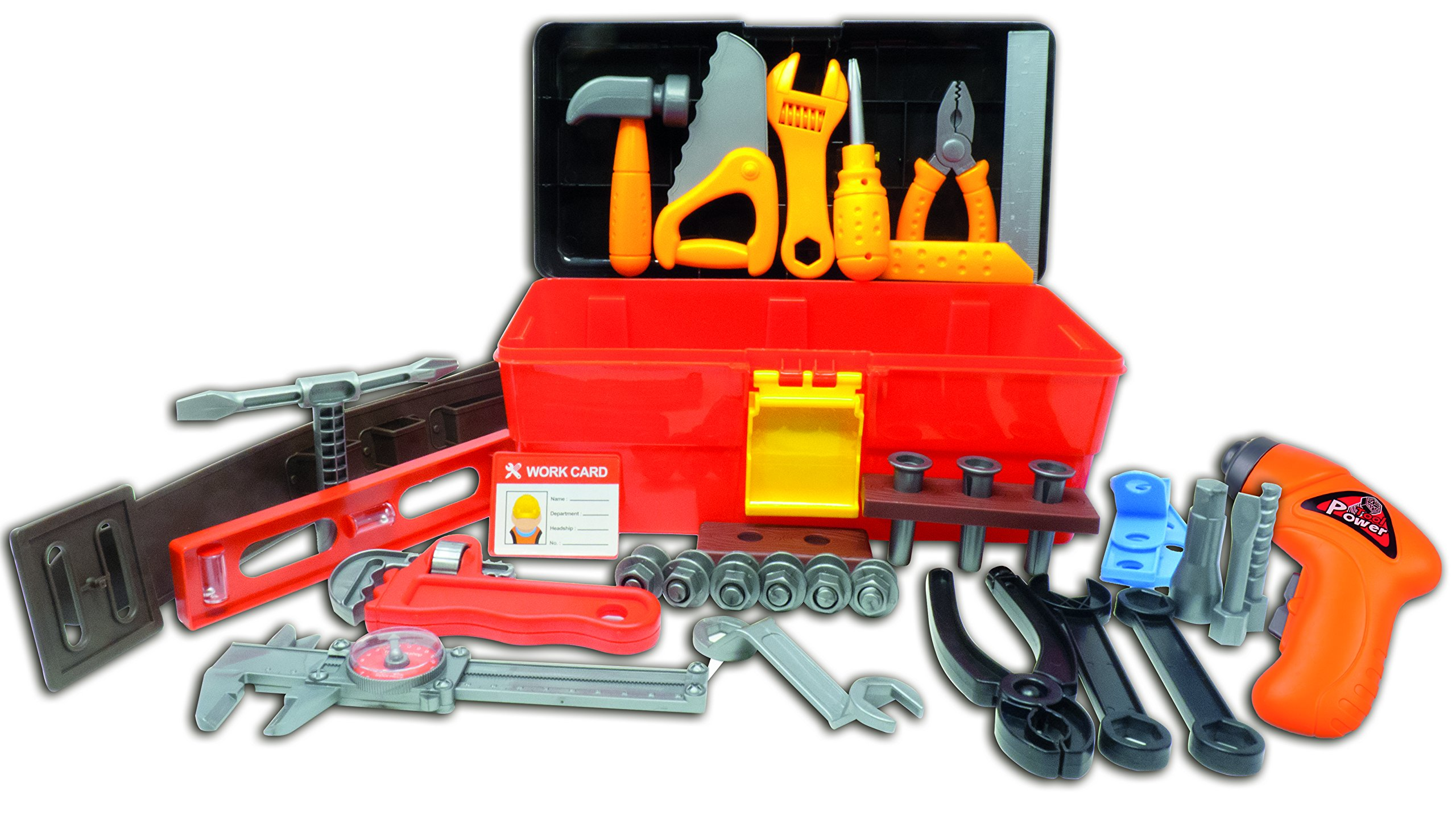 Deluxe Toy Tool Set for Toddlers TG668 - Fun Tool Box Kit for Boys with 40 Pieces Including Battery Powered Drill - Tool Set for Toddlers & Boys by ThinkGizmos (Trademark Protected)