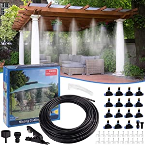 Minterest Mist Cooling System, 49ft DIY Garden Cooling Cooler Water Mister System with 15pcs Misting Nozzles for Outdoor Patio Garden Lawn Home Irrigation