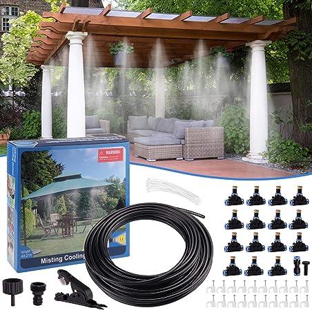 Minterest Sistema de Refrigeración de Niebla, 49ft DIY Garden Cooling Cooler Water Mister System con Boquillas de Nebulización de 15 Piezas para Patio Al Aire Libre Jardín de Césped Riego del Hogar: