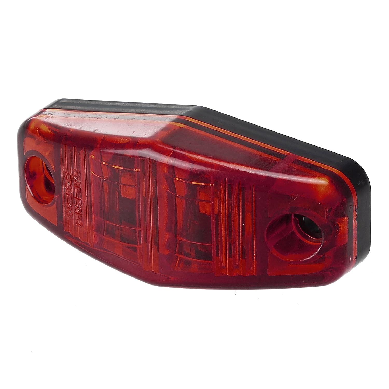 Partsam 6Pcs 2.5 Mini Oval Led Trailer Truck Side Marker and Clearance Lights 2 Diodes Red Sealed 12V Rectangle Rectangular Led Side Fender Lights Surface Mount 2-1//2 L x 1-1//16 W x 11//16 D