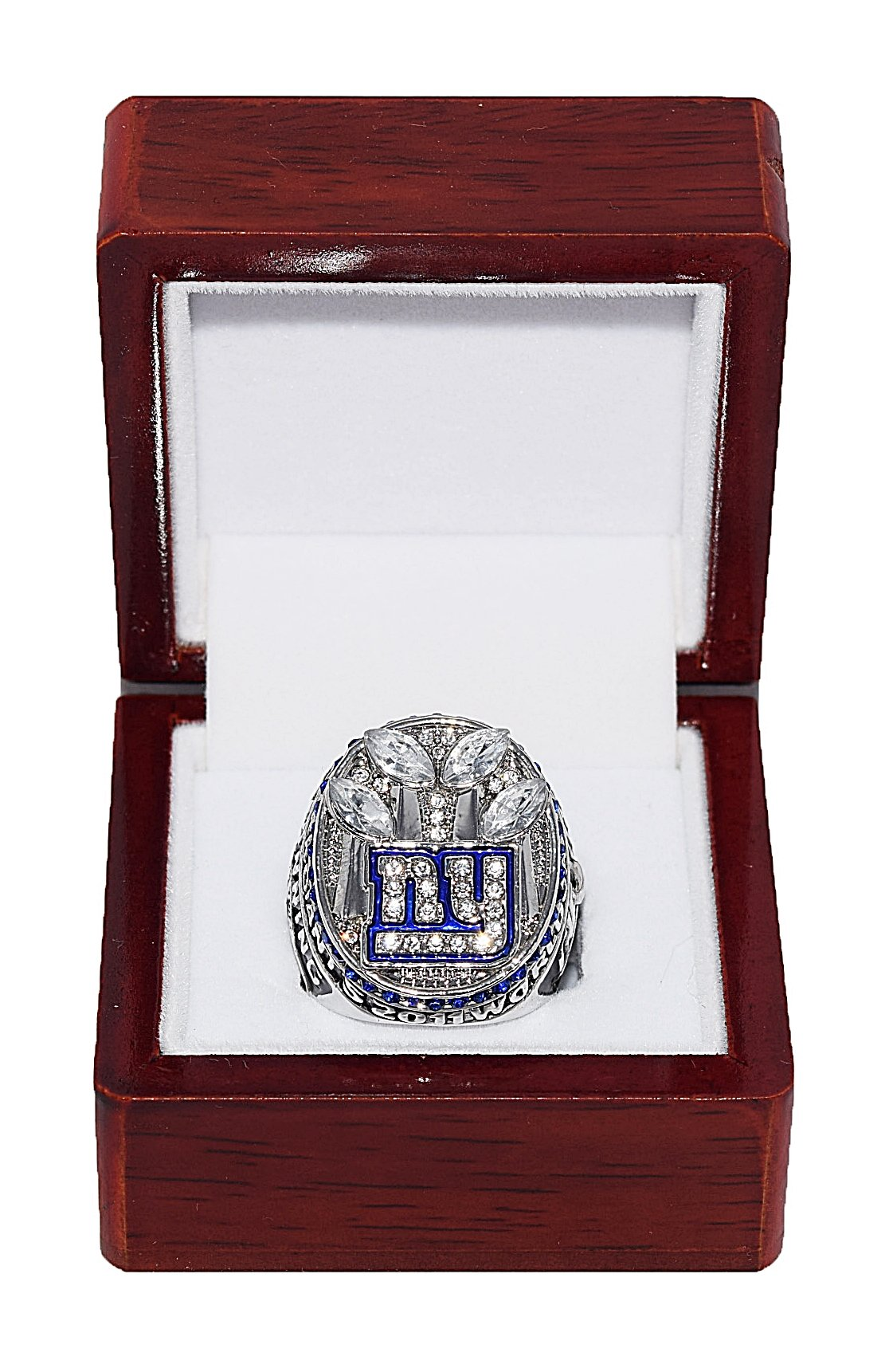 NEW YORK GIANTS (Eli Manning) 2011 SUPER BOWL XLVI WORLD CHAMPIONS (Vs. Patriots) Est. 1925 Rare & Collectible High Quality Replica NFL Football Silver Championship Ring with Cherrywood Display Box