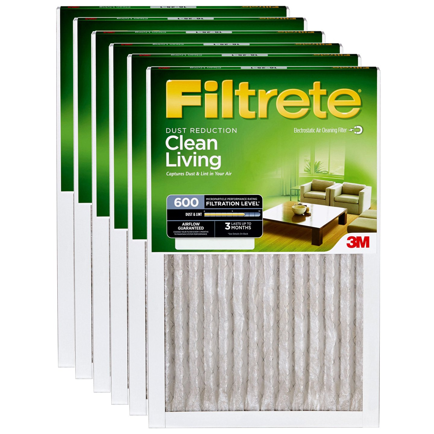 3. 3M Filtrete Dust and Pollen Filter (6 Pack) - Best Furnace Air Filter Value Pack